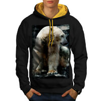 Wellcoda Polar Bear Wild Animal Mens Contrast Hoodie, White Casual Jumper