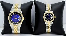 Rolex Datejust 16233 69173 For HER & HIM 18K YG & SS Blue Viniet Diamond Dial