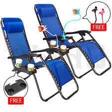 Navy 2 Zero Gravity Lounge Beach Chair+Utility Tray Folding Outdoor Recliner