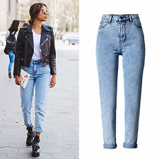 Retro Womens High Waist Snow Faded Ladies Loose Denim Pants Trousers Jeans 6-16