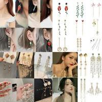925 Sterling Silver Crystal Tassel Earrings Drop Dangle Women Wedding Jewelry UK