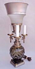 Vintage 3-Arm Candelabra Smoke Glass Torchiere Lamp Machine Age Art Deco Era