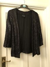 New American Retro Black Sparkly Victor Jacket Cover Up Cardigan,38/12
