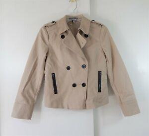 ANN TAYLOR jacket blazer double breasted military pea coat khaki stretch 4P 4