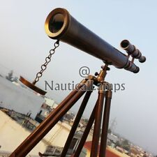 Royal Navy Port Marine Brass Telescope Vintage Decor Wooden Tripod Telescope 18""