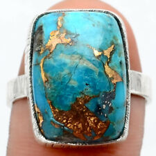 Copper Blue Turquoise Arizona 925 Sterling Silver Ring s.8.5 Jewelry 8170