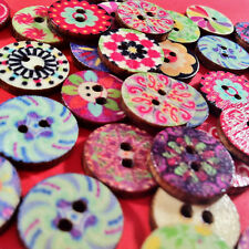 50pcs PATTERNED WOODEN BUTTONS ROUND 14mm - sewing embellishments craft