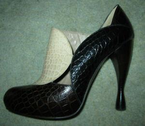 Emporio Armani ivory black brown croc look leather high heel booties, sz 38 1/2