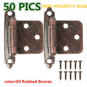 25 Pairs (50pcs) Self Closing OVERLAY Flush Cabinet Hinges Oil Rubbed