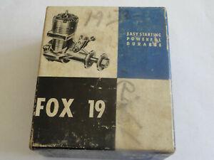 Vintage Fox 19 Stunt Control Line Model Plane Engine w/Box