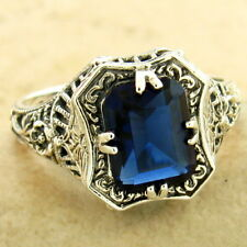 2 CT ROYAL BLUE SIM SAPPHIRE ART DECO 925 STERLING SILVER RING SIZE 8,     #1171