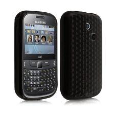 Housse coque étui gel damier transparent pour Samsung Chat 335 S3350 noir