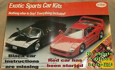 Testors Exotic Cars Kit 1:24 Scale Lamborghini Countach & Ferrari F40 (started)