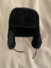 RUSSIAN USHANKA Black MINK FUR HAT