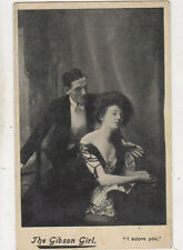 The Gibson Girl I Adore You Vintage Glamour Actress Postcard US065