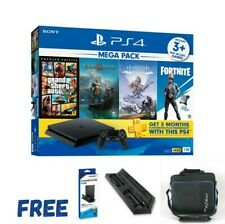 PS4 SLIM 1TB Mega Pack Console with 4 Games + Accesories SONY 15Months Warranty