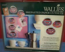 Vintage Wallies Cutout Color Cups Coffee Tea 25 Pcs New Pack Prepasted Wallpaper
