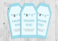6 x Baby Shower, Boy washing Line, Blue, Thank You Tags, Favour Tags Labels