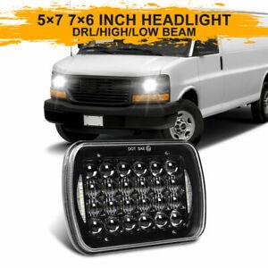 5x7 7x6 Halo LED Headlight H4 Rectangle For GMC Savana 1500 2500 3500 1997-2017