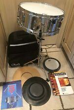 """NEW PEARL STEEL SHELL 5""""x 14"""" CHROME 10 SNARE DRUM PACKAGE, CASE, STAND,PADS"""