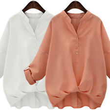 Women's Solid Color Cotton Linen Shirts V-Neck Loose T-Shirt Button Casual Tops