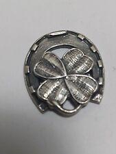 Horseshoe 4 leaf Clover Sterling Silver Bracelet Charm -