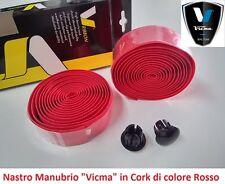 """840RJ Nastro Manubrio """"Vicma"""" in Cork colore Rosso per bici 26-28 Fixed Scatto F"""
