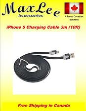 10FT 3M Black USB Flat Noodle Charging Sync Cable Apple iPhone 5 New iPad 4 Mini