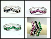 Genuine Ruby Sapphire & Emerald White Gold Sterling Silver Stack-able Band Ring