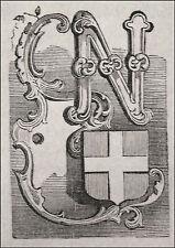 1871:NOVARA, MINIATURA STEMMA ARALDICO CITTA+Passepartout.Cento Citta,Ariodante