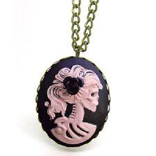 Dama Rosa Rosa negra Skull camafeo Gemme cadena collar cameo Gothic esqueleto