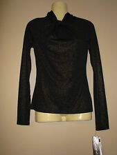 South Pole Collection Women's Black Stretch Top with Gold Sparkle - Medium - NWT