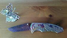 Couteau lame damas mosaic fait main, knife blade handmade damascus mosaic