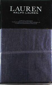 Ralph Lauren Luna Stripe 2 KING Pillowcases Blue Denim Modern Cottage Unisex