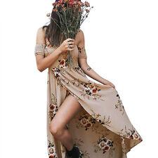 Women Off Shoulder Summer Boho Chiffon Beach Dress Floral Print Long Maxi Dress