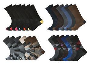 6 Pairs Men's Non Elastic Socks, Soft Top Diabetic, Rich Cotton Socks, UK 6-11