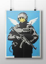 "Banksy - Smiley Police Trooper Archival Canvas Print 30""x20"""
