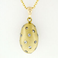 "14k Gold .71ctw Burnish Diamond Sand Blast Egg Charm Pendant 18"" Chain Necklace"