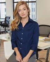 Van Heusen Ladies 3-Quarter Sleeve Baby Twill Shirt 13V0527 -NEW Wrinkle-Free