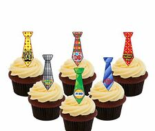 Fathers Day Ties - 24 Precut Edible Cup Cake Toppers, Standup Fairy Decorations