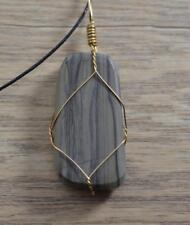 Jadeite Stone Gold Wire Wrapped Healing Chakra Crystal Pendant