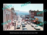 OLD LARGE HISTORIC PHOTO OF BRISTOL CONNECTICUT, THE MAIN STREET & STORES c1960