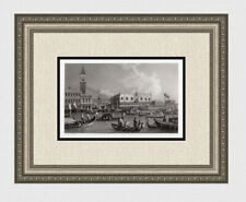 """1800s CANALETTO Historic Engraving """"Return of the Bucintoro"""" SIGNED Framed COA"""