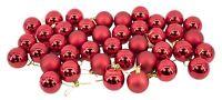 Red Baubles Bulk Pack Christmas Tree Decoration Assorted Shiny & Matt 5cm