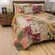 BEAUTIFUL REVERSIBLE PATCHWORK RED BLUE PINK GREEN ROSE FLORAL QUILT SET KING