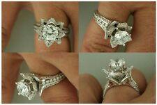 Certified 3.20ct Round White Lotus Flower Diamond Engagement Ring 14K White Gold