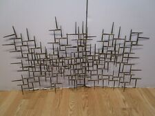 """MCM Brutalist Metal Wall 3D Nails Sculpture Abstract USA signed Dexter Vtg 44¼""""W"""