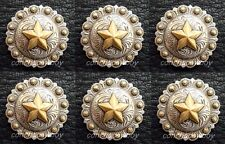 "Set of 6 WESTERN HORSE SADDLE TACK ANTIQUE GOLD STAR BERRY CONCHOS 1"" screw back"