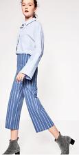Zara high-waist stripe cropped culottes pants/trousers-blue&white-sz XS S M