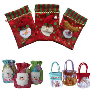 Christmas Fabric Cloth Gift Party Jewellery Bags Unique Fun Loot Bag Sweets